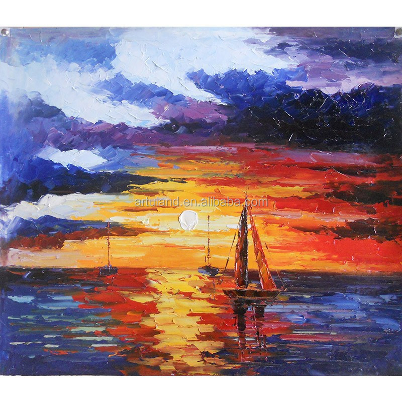 Beautiful sunset landscape canvas painting on canva