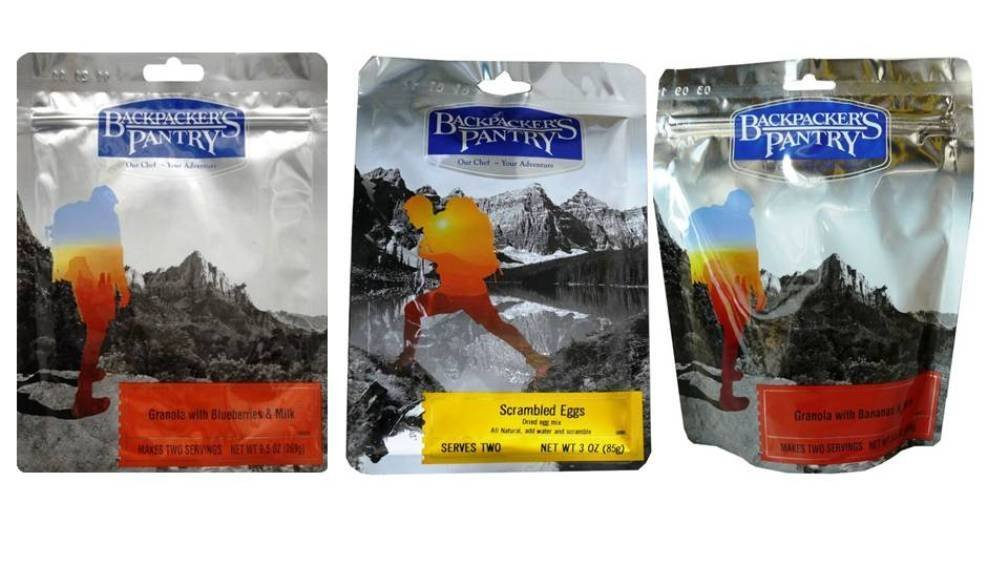 Backpacker's Pantry Breakfast 3 Flavor Variety Bundle: (1) BP Granola With Blueberries & Milk, (1) BP Scrambled Eggs, and (1) BP Granola With Bananas & Milk, 3-9.5 Oz. Ea. (3 Pouches Total)