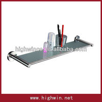 Wall mounted stainless steel glass shelf with towel bar