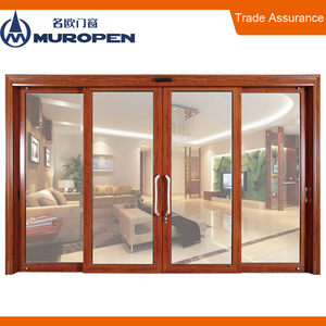 Aluminum sliding automatic glass door hanging inlay glass door