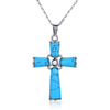 Handmade christian cross jewelry natural turquoise stone cross pendant necklace