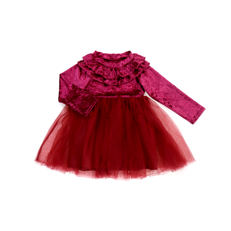BQ-076-ZXN RTS ready to ship baby girls dresses long sleeve tulle party dress kids dresses for girls фото