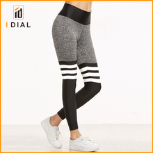 High quality white stripe design Dry fit strech flower grey fitness leggings for women