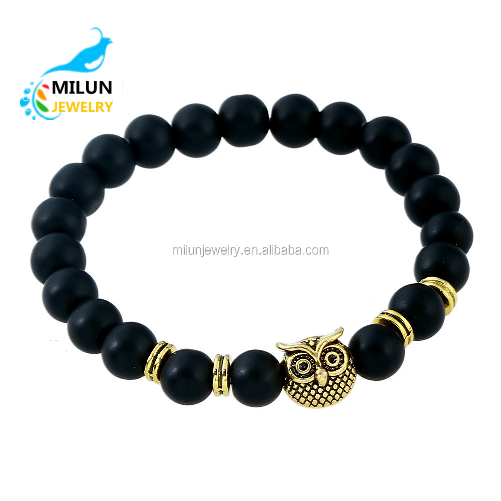 Wholesale Fashion Gold Owl Charms Lava Stone Beads Bracelet Men 2017