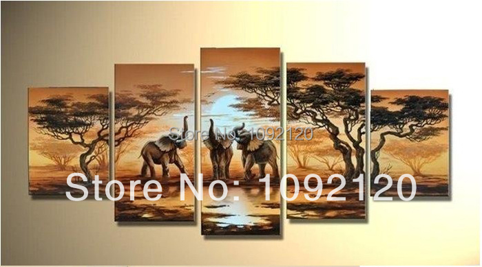 Free Shipping !! The African Elephant ! 100% Handmade Modern Landscape Oil Painting On Canvas Top Home Decoration