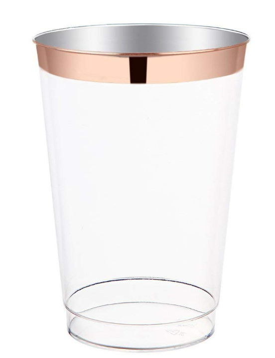 12oz Cocktail Timbler Rose Gold Rim Plastic <strong>Cup</strong>