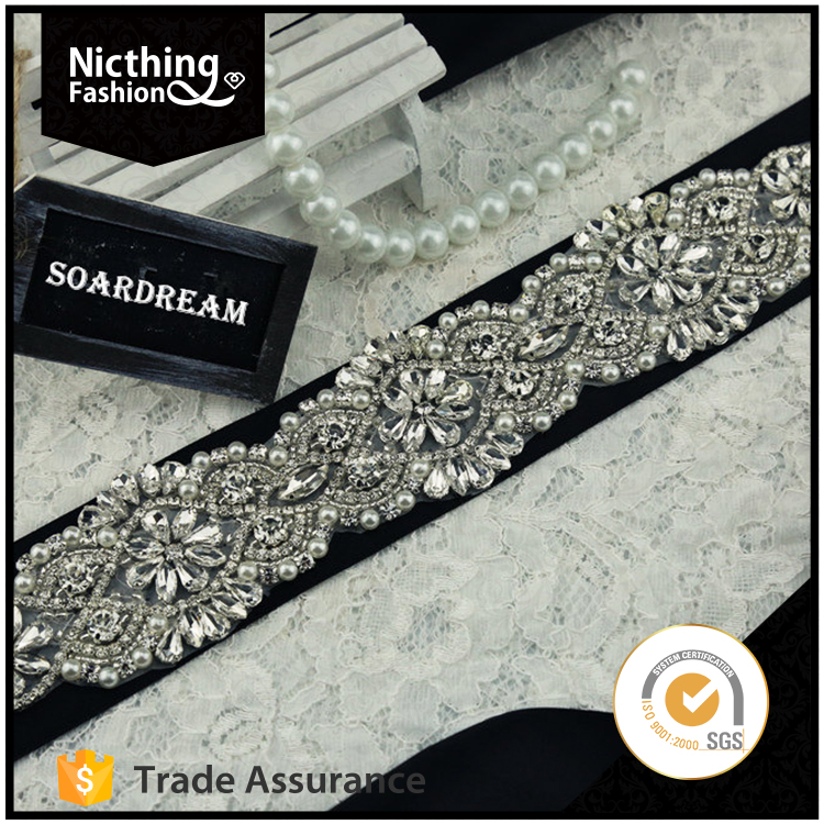 Wholesale Wholesale bodice beaded crystal rhinestone applique for dresses Sash belt NRA079