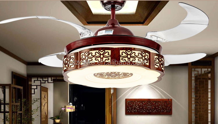 Chinese retro style living room decorative invisible elegant wooden ceiling fan lights
