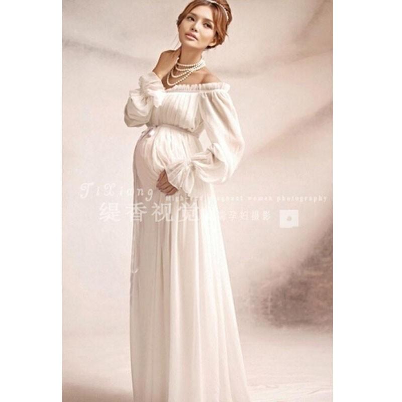 046e27b2ccd 2019 New White Lace Maternity Dress Photography Props Long Lace ...