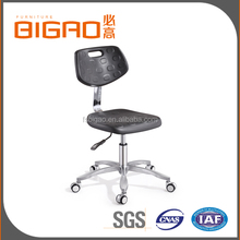 BIGAO Comfortable Height Adjustable Stainless Steel Base PU Foam Seat Lab Stool Chair With Movable Footrest