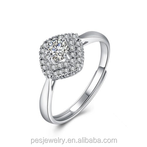 PES Fashion Jewelry! Noble Inlaid AAA ZIRCON Cluster Ring Adjustable Finger Size Q (PES6-1907)