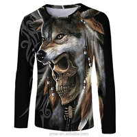 2019 new long sleeves sublimation t shirt wholesale men 3d sublimation t shirt wolf printed clothing
