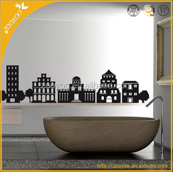 Zooyoo black wall stickers wall sticker removable clear living walls wallpaper india famous building wallpaper