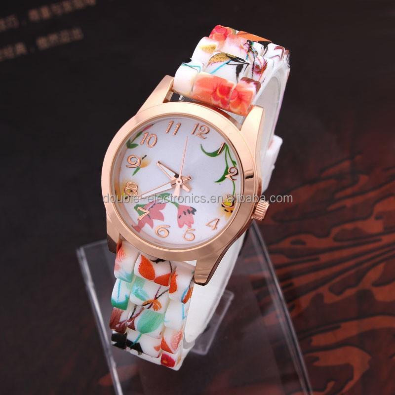 Women Lady Girls Silicone Band Printed Flower Casual Watch Quartz ...