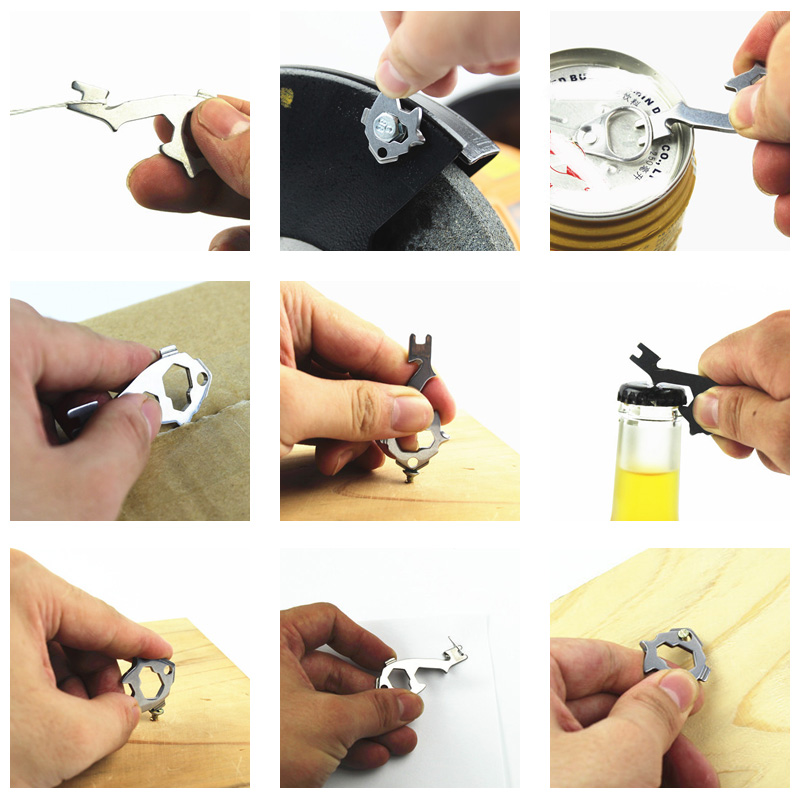 QingGear 20 in 1 Multi Tool Key tool Screwdriver Opener Wrench Pry Bar Line Cutter Remover EDC Pocket Tool