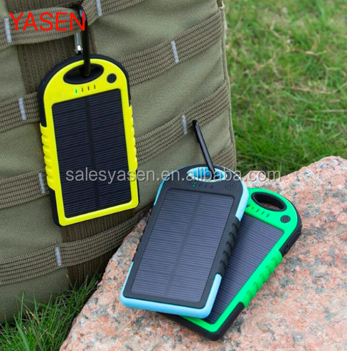 Solar power Bank 5000mah Extreme Mobile Phone Battery Charger Pack Dual USB LED with climbing hook