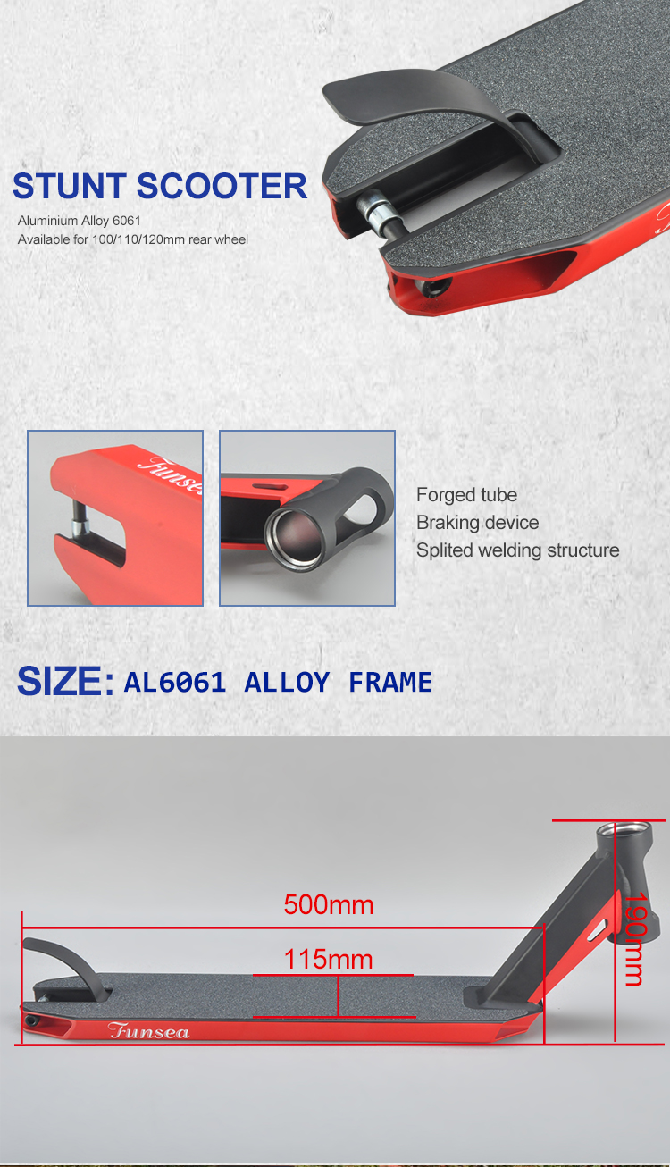 115*500mm aluminium alloy 6061 black red professional stunt scooter deck for 100 110 120mm rear wheel