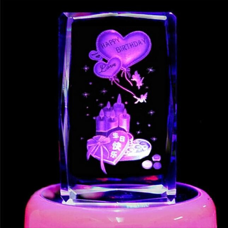 Custom 3d Laser Crystal Rose Cube/Birthday Cake or Other Wedding&Gift Favors