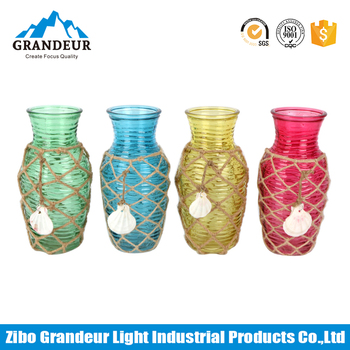 Handmade Small Colored Hemp Rope Weaving Gl Vases With Shell Decoration on
