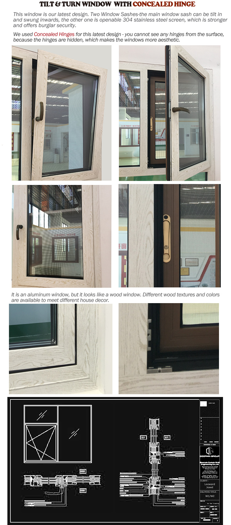 Wood grain finish aluminum window windows tilt turn