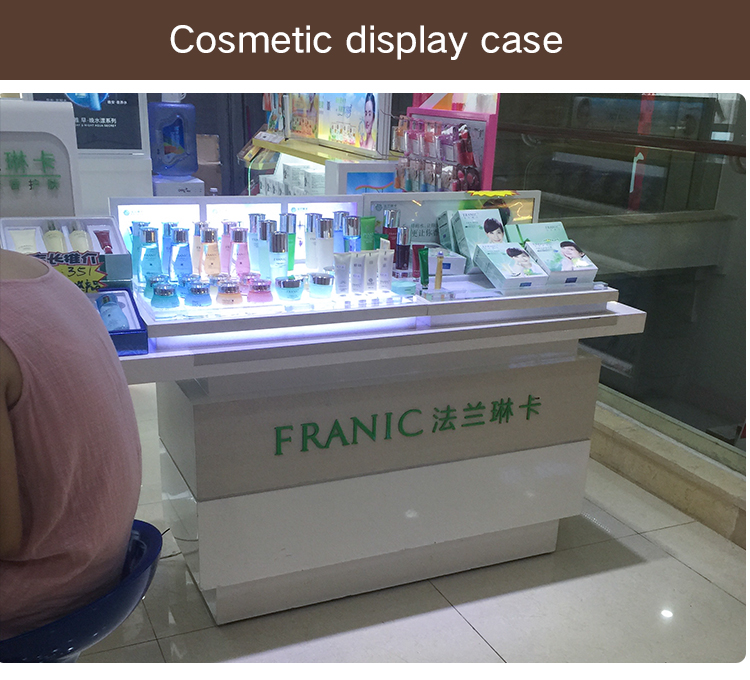 modern design makeup counter display wooden cosmetic display cabinet