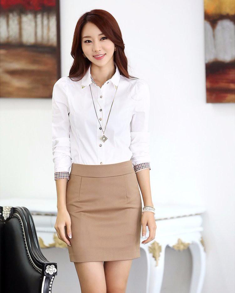 Calidad superior mejor proveedor códigos de cupón Primavera Verano blusa camisa sólido blanco elegante mujeres Oficina ropa  de marca mujer ropa Blusas Femininas Casual Tops Blusas
