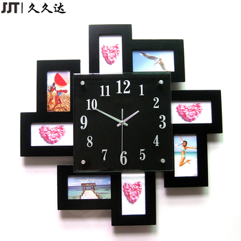 Square Different Types Photo Frame Wooden Wall Clocks