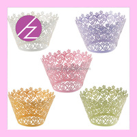 Wholesale Laser Cut Wedding Cupcake Wrapper Vine Wraps Collars Cups Bridal Shower Party Table Decoration cupcake picks