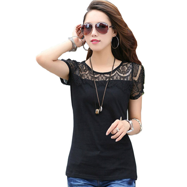 Lace Carved Patchwork Lady CVC T-Shirts Plus Size L-3XL Women Slim Black Tees 2015 New Summer Girls Fashion Loose Tops