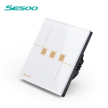 SESOO EU standard Luxury Crystal Glass Panel 3 gang 1 way Touch Wall Light Dimmer Switch 220V