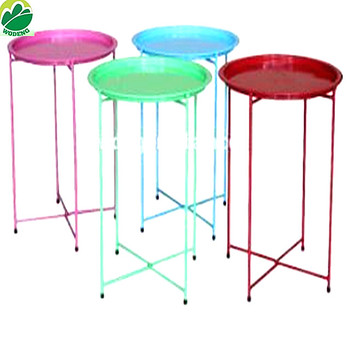 Garden Furniture Metal Round Folding Tray Coffer Side Table Buy