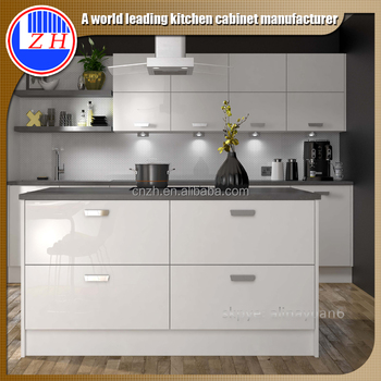 High Gloss Laminated Plywood Kitchen Cabinet With Hidden Handle