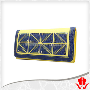 triangle splicing leather designer PU leather women wallet with rivet