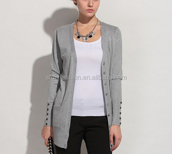 6c4c2350fe1 V-neck Button-down Jersey Knitted Ladies Extra Long Cardigan With Side  Pockets - Buy Ladies Extra Long Cardigan,Ladies Long Sleeve Pocket ...