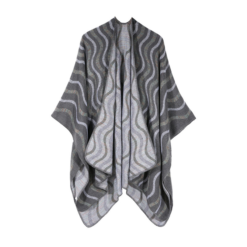 European Trendy Women <strong>Faux</strong> Cashmere Shawl <strong>Wrap</strong> Stole Winter Warm Thick Striped Blanket Oversized Knitted Scarf