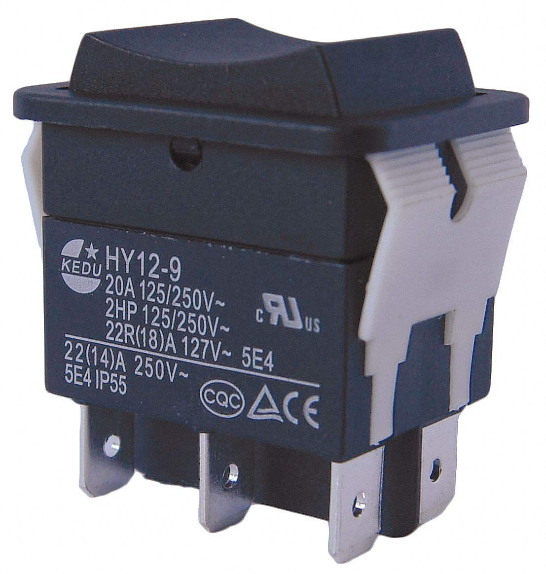 """Rocker Switch, Contact Form: DPDT, Number of Connections: 6, Terminals: 0.250"""" Quick Connect Tab - Pack of 5"""
