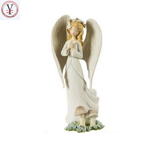 Factory Custom made best home decoration gift polyresin resin angel white