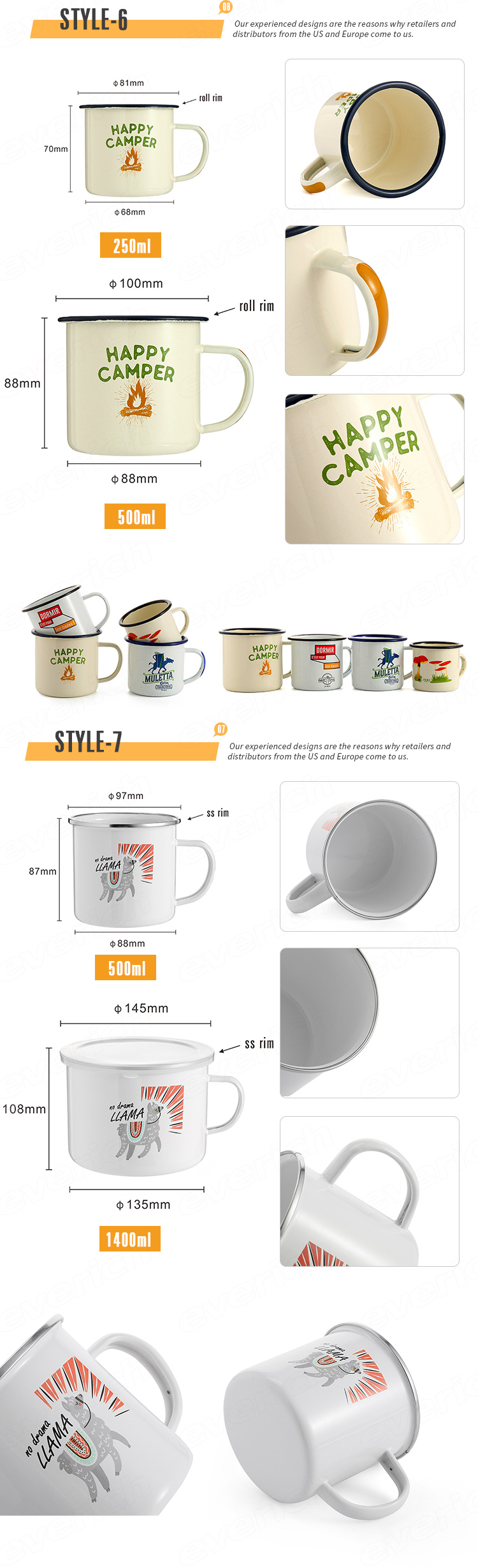 White Custom Sublimation Blank Transfer Personalized Gift-printing Steel Enamel Metal Camping Coffee mug