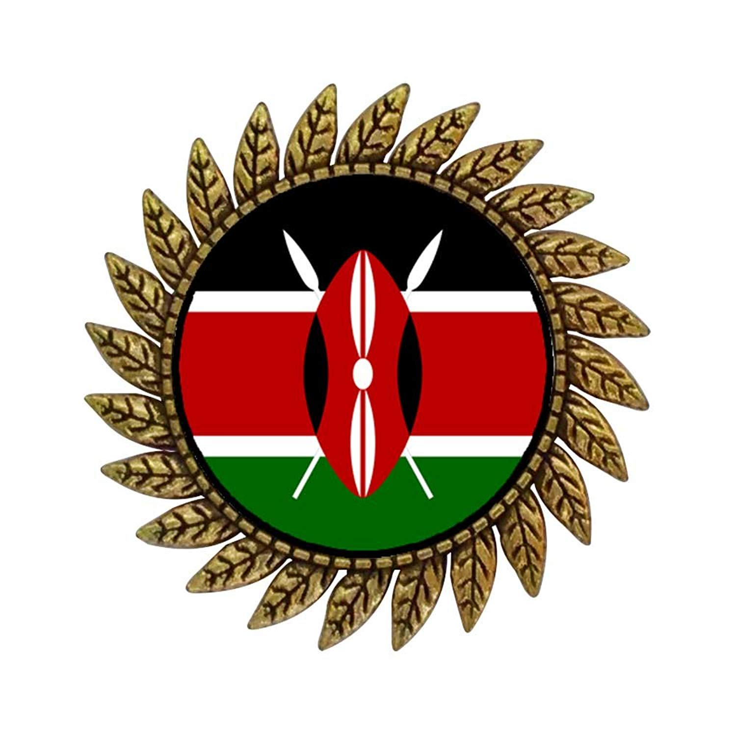 GiftJewelryShop Ancient Style Gold-plated Kenya flag Hot Style Gear Round Pin Brooch