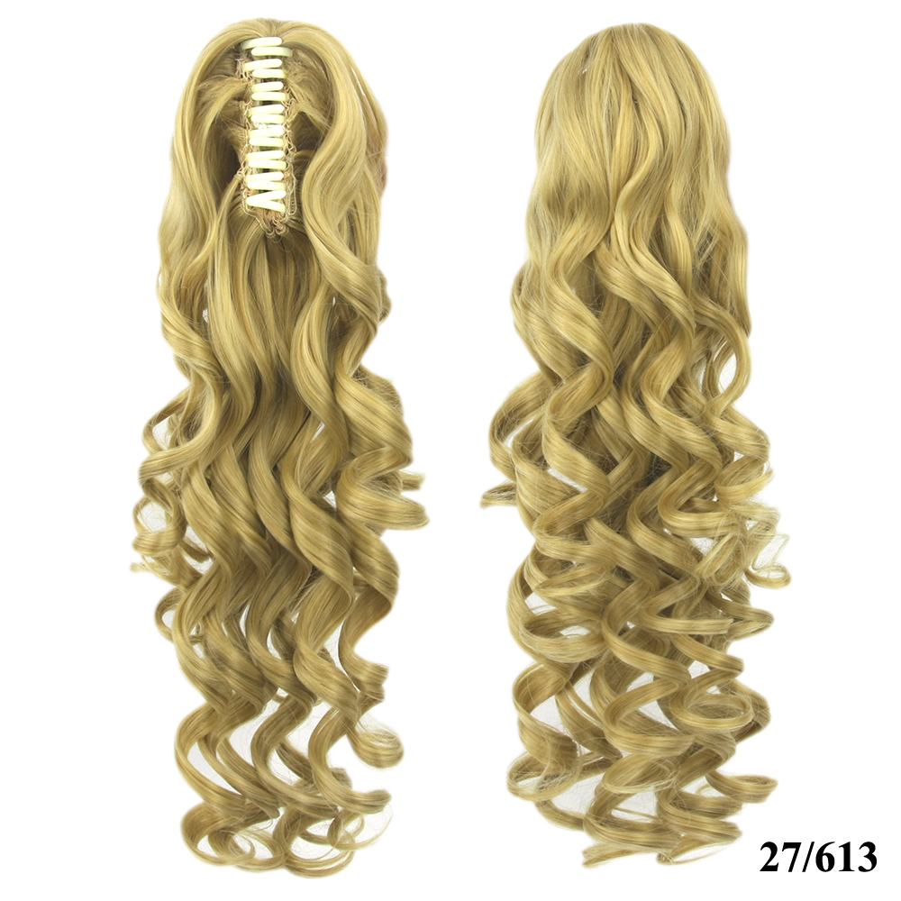 Long Wavy High Temperature Fiber Synthetic Hair Clip In Hair Extensions Pieces Pony Tail Blonde Black Claw Ponytail