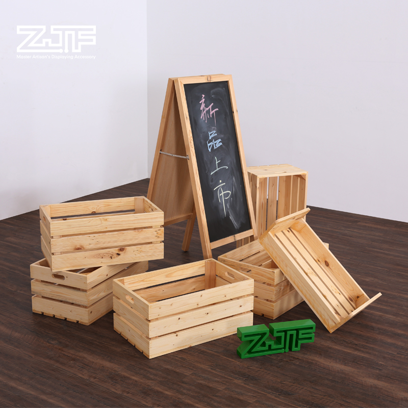 Black board stand wooden bakery store furniture advertising bread food display rack