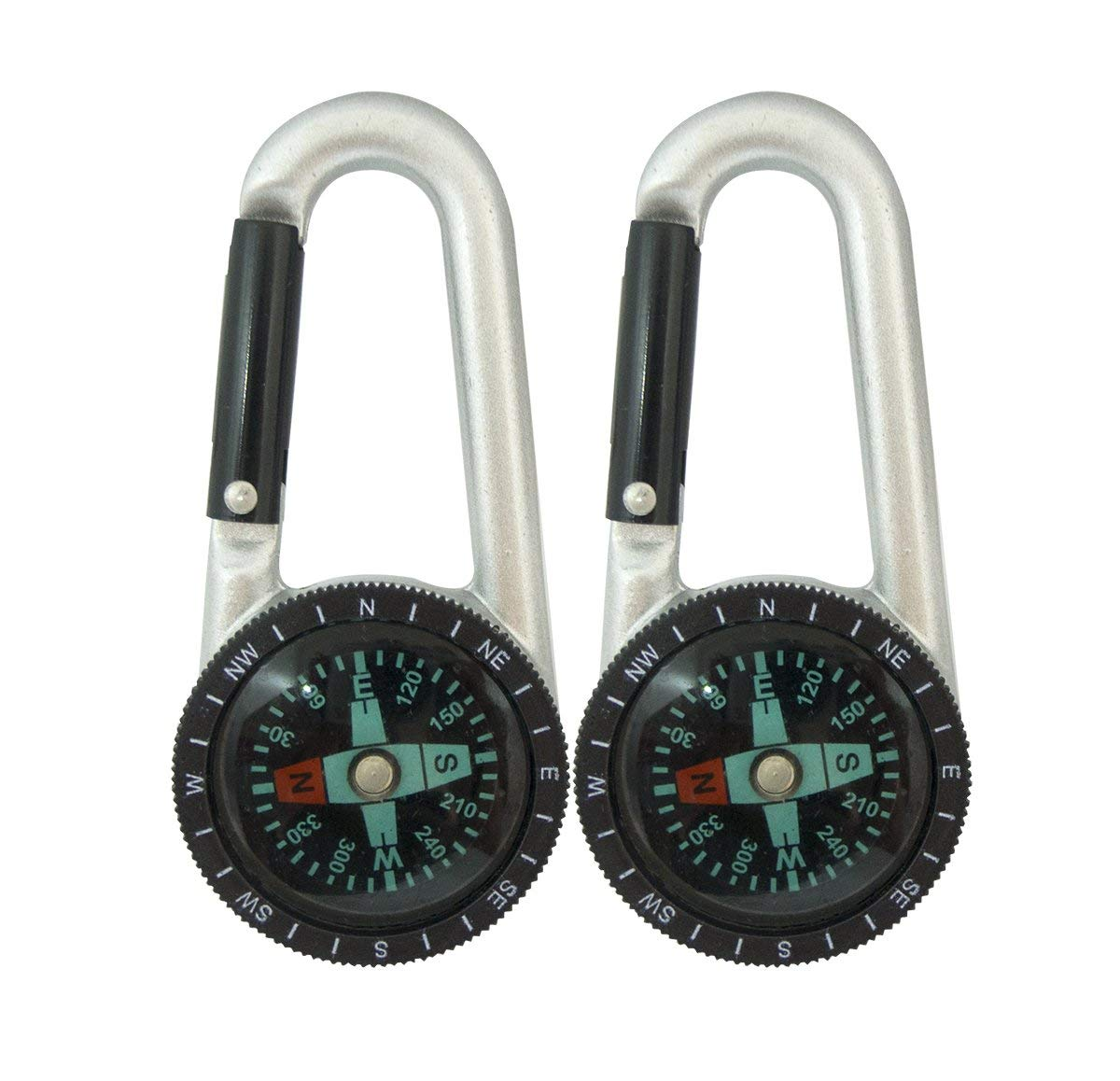 Compass Keychain, Faocean 2 PCS Small Liquid Filled Compass Keychain Carabiner Clip on with Snap Hook and Plastic Scale, Black Silver