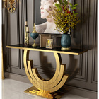 Modern Designer Stainless Steel Marble Console Table Gold