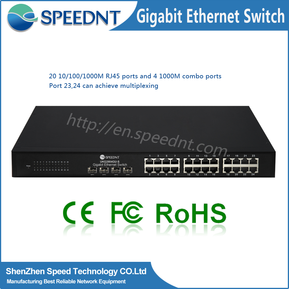 Manufacturing Company Proivde 24 Port Ethernet Hub Full Gigabit Ethernet Switch 24+4 Port