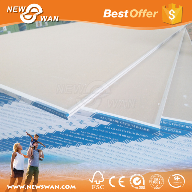 Waterproof Gypsum Board Standard Size / Plaster Board Drywall China Manufacturer