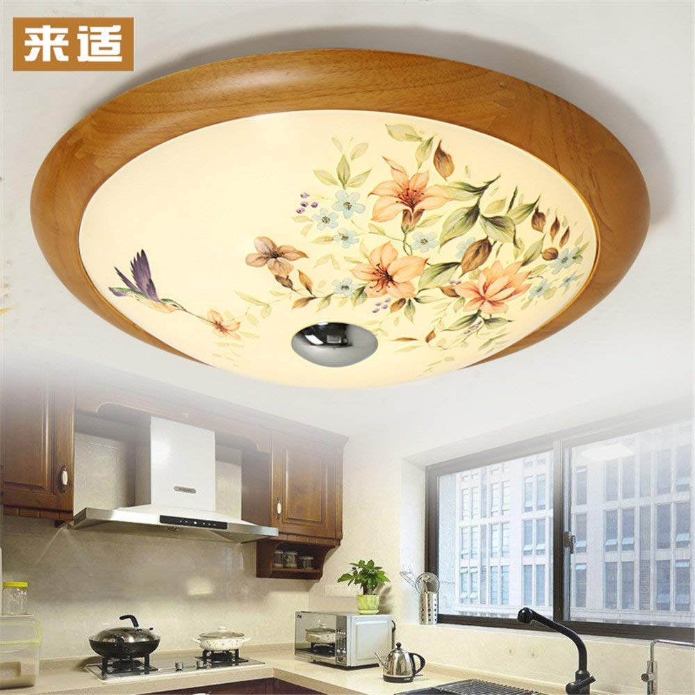 Modern LED Pendant Flush Mount Ceiling Fixtures Light Modern new Chinese solid wood round ceiling lamp pastoral lamp warm lamp wood LED glass lamp, 360mm