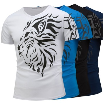 Wholesale One Piece Hot Sale Mens Gym Shirts Custom T Shirt Printing Fire V Neck Cotton T Shirt