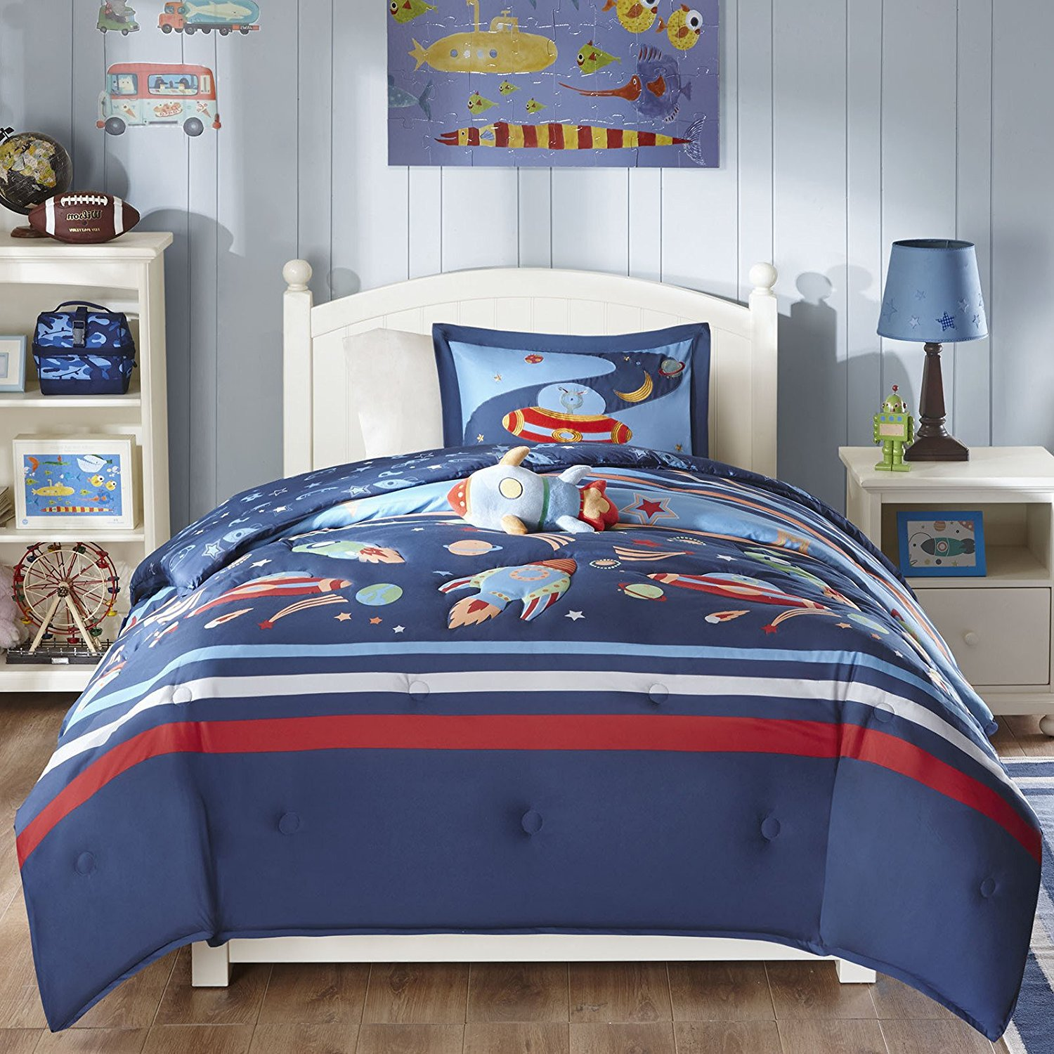 CA 3 Piece Kids Space Ranger Comforter Set Twin, Blue Red Nature Printed Outer Space Planet Rocket Stripes Teen Themed Reversible Spacestar Kids Bedding for Bedroom Modern Casual, Polyester