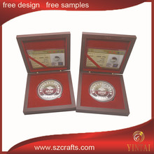 Silver coin with certificate and gift box