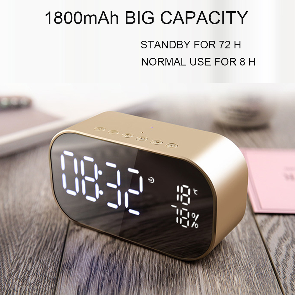 Newest big capacity 1800mAh big power LED clock alarm wireless speaker
